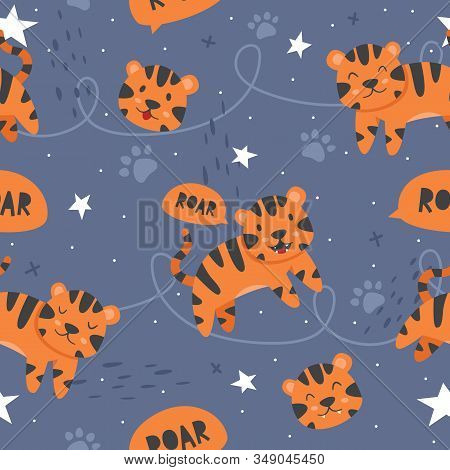 Vector seamless pattern Cute tiger, Adorable little tiger seamless pattern. Vector cute animal background stock photo