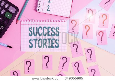 Text sign showing Success Stories. Conceptual photo story of something or someone that achieves great success Mathematics stuff and writing equipment above pastel colours background. stock photo