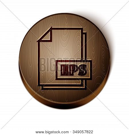 Brown line EPS file document. Download eps button icon isolated on white background. EPS file symbol. Wooden circle button. Vector Illustration stock photo