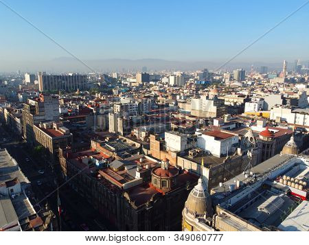 Historic center of Mexico City aerial view near Zocalo Constitution Square, Mexico City CDMX, Mexico. Historic center of Mexico City is a UNESCO World Heritage Site since 1987. stock photo