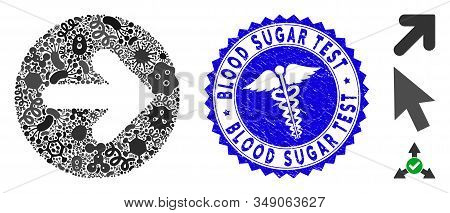 Epidemic mosaic rounded arrow icon and round grunge stamp seal with Blood Sugar Test phrase and caduceus icon. Mosaic vector is formed with rounded arrow icon and with random microbe cell symbols. stock photo