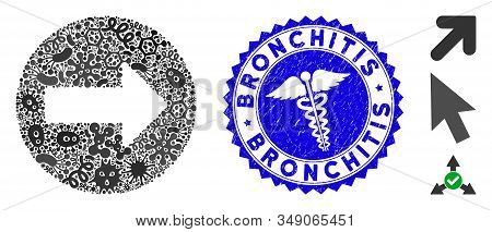 Infectious mosaic rounded arrow icon and round grunge stamp watermark with Bronchitis text and serpents icon. Mosaic vector is composed from rounded arrow icon and with scattered viral symbols. stock photo