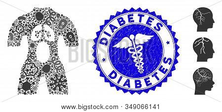 Viral mosaic man anatomy icon and rounded grunge stamp watermark with Diabetes caption and health care sign. Mosaic vector is formed with man anatomy icon and with random epidemic elements. stock photo