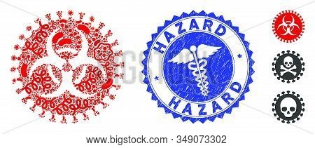 Contagion mosaic virus hazard icon and rounded rubber stamp seal with Hazard text and caduceus icon. Mosaic vector is created with virus hazard icon and with randomized microbe cell icons. stock photo