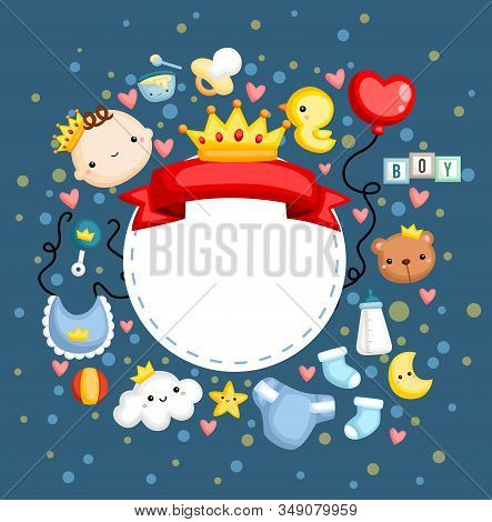 a baby boy banner with a lot of items stock photo
