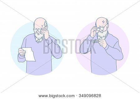 Medication, aging, health, therapy, eyesight, set. Bad eyesight aged man looking to the remedy, reading medical health prescription. Ageing visual acuity disorder problem. Simple flat vector. stock photo
