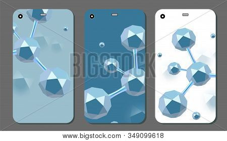 Molecular abstract phone covers set. Vector illustration. Atoms. Medical background for banner or flyer. 3d Molecular structure with blue icosahedron particles. stock photo