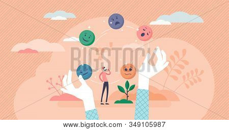 Juggling emotions, flat tiny persons vector illustration. Personal traits and self awareness emotional intelligence. Controlling impulses and mental activity reactions. Exploring inner personality. stock photo