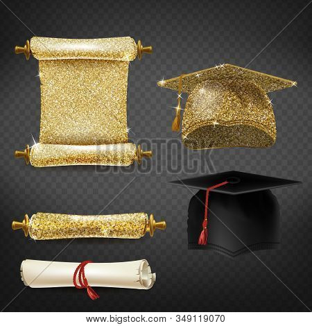 set with black and golden graduation caps, glittering diplomas isolated on background. Square academic hats, mortarboards with tassels, document of master degree in university or college stock photo