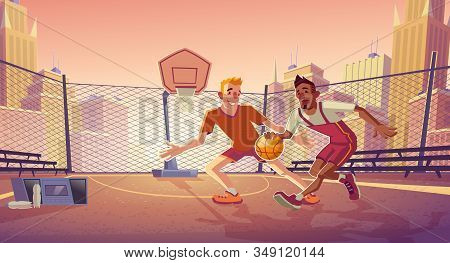Street basketball players cartoon with young caucasian and african american men playing ball on outdoor basketball court or park playground illustration. Modern city sport activities concept stock photo