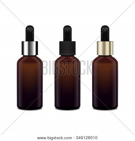 Brown glass bottles for essential oil. Diferent caps. Mock up cosmetic bottle or medical bottle, flask, bottle 3d illustration stock photo