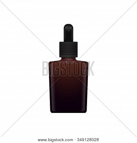 Brown glass closed bottle for essential oil. Front view mock up cosmetic bottle or medical bottle, flask, bottle 3d illustration stock photo