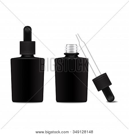 Set of black square closed and open bottle with a dropper cap for essential oil. Front view mock up cosmetic bottle or medical bottle, flask, bottle 3d illustration stock photo