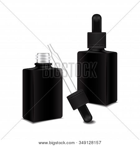 Set of black square closed and open bottle with a dropper cap for essential oil. Mock up cosmetic bottle or medical bottle, flask, bottle 3d illustration stock photo