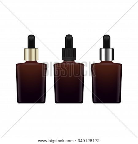 Set of brown glass closed bottle for essential oil. Diferent caps. Mock up cosmetic bottle or medical bottle, flask, bottle 3d illustration stock photo