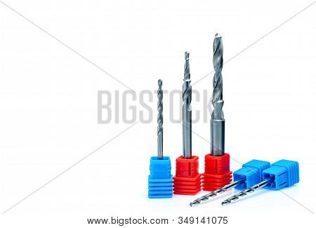 Special tools isolated on white background. Made to order special tools. Coated step drill detail. HSS cemented carbide. Carbide drilling tool for industrial applications. Engineering tools. Drilling. stock photo