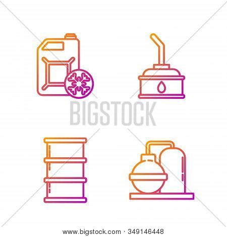 Set line Oil and gas industrial factory building, Barrel oil, Antifreeze canister and Canister for motor machine oil. Gradient color icons. Vector stock photo