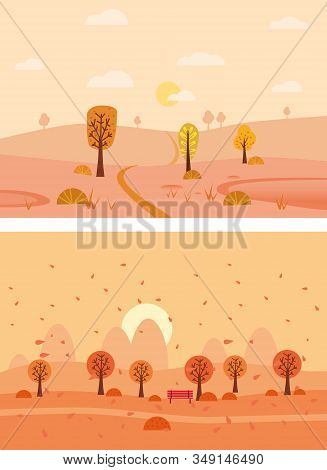 Set Minimal Autumn landscapes panorama of Countryside landscape. Yellow trees foliage, mountains, hills, road. Vector illustration minimal trendy style isolated stock photo
