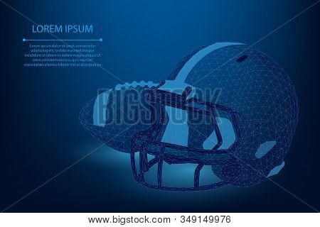 Abstract line and point rugby ball and helmet. Low poly American football vector illustration. Polygonal cyber technology sport stock photo