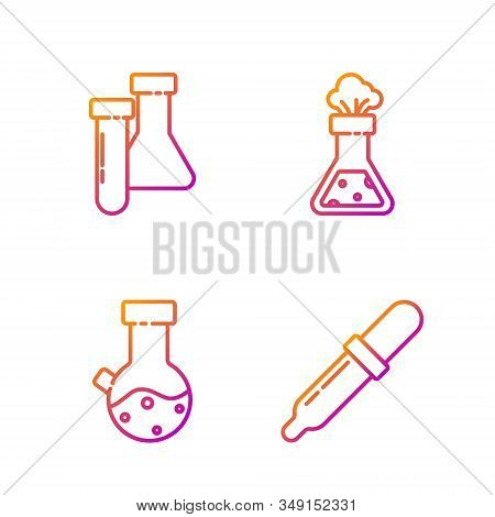 Set line Pipette, Test tube and flask chemical, Test tube and flask chemical and Test tube and flask chemical. Gradient color icons. Vector stock photo