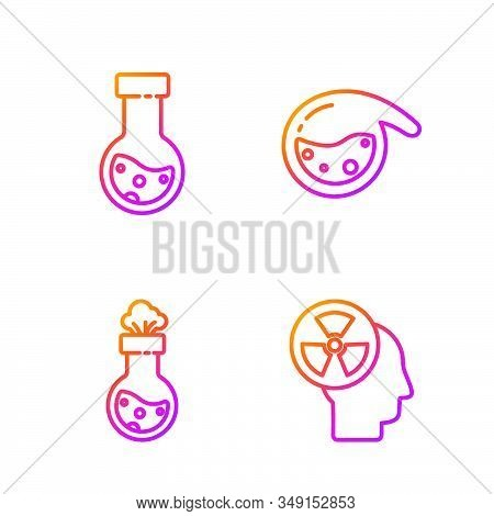 Set line Human head and a radiation, Test tube and flask chemical, Test tube and flask chemical and Test tube and flask chemical. Gradient color icons. Vector stock photo