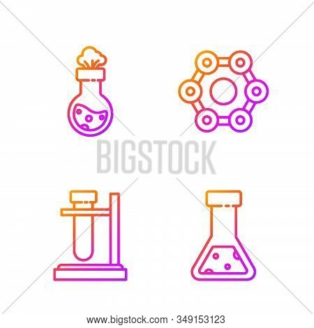 Set line Test tube and flask chemical, Test tube flask on stand, Test tube and flask chemical and Chemical formula. Gradient color icons. Vector stock photo