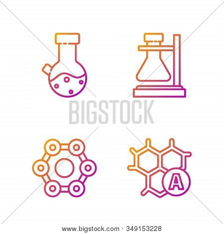 Set line Chemical formula, Chemical formula, Test tube and flask chemical and Test tube flask on stand. Gradient color icons. Vector stock photo