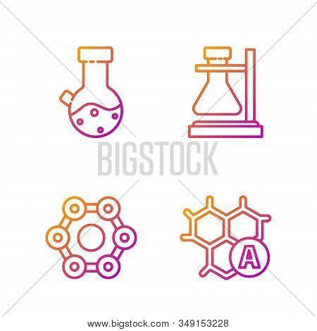 Set line Chemical formula, Chemical formula, Test tube and flask chemical and Test tube flask on stand. Gradient color icons. Vector stock photo