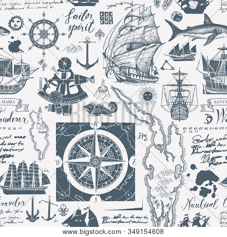 Vector abstract seamless pattern on the theme of travel, adventure, discovery. Vintage background with hand-drawn sailboats, wind roses, anchors, sketches, unreadable notes, inscriptions and ink blots stock photo