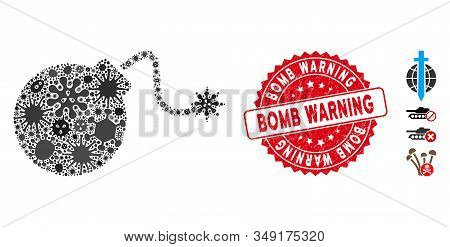 Infection mosaic bomb icon and round distressed stamp seal with Bomb Warning phrase. Mosaic vector is created with bomb pictogram and with scattered pathogen objects. stock photo