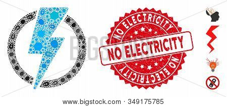 Pandemic mosaic electricity icon and rounded rubber stamp seal with No Electricity caption. Mosaic vector is formed with electricity icon and with scattered flu items. stock photo