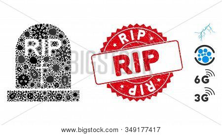 Infection mosaic RIP icon and round corroded stamp seal with RIP phrase. Mosaic vector is formed with RIP icon and with scattered infection elements. RIP seal uses red color, and distress texture. stock photo