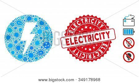 Pandemic mosaic electricity icon and round corroded stamp seal with Electricity text. Mosaic vector is formed with electricity pictogram and with randomized amoeba elements. stock photo