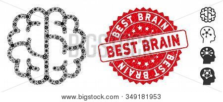 Outbreak mosaic brain icon and rounded rubber stamp watermark with Best Brain phrase. Mosaic vector is created with brain icon and with scattered infectious items. Best Brain stamp uses red color, stock photo