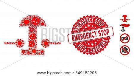 Outbreak mosaic emergency stop button icon and rounded grunge stamp seal with Emergency Stop caption. Mosaic vector is formed with emergency stop button icon and with random infection items. stock photo