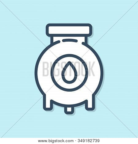 Blue line Oil and gas industrial factory building icon isolated on blue background. Vector Illustration stock photo