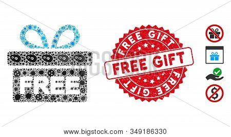 Flu mosaic free gift icon and rounded distressed stamp watermark with Free Gift caption. Mosaic vector is created with free gift icon and with random microbe objects. Free Gift stamp uses red color, stock photo