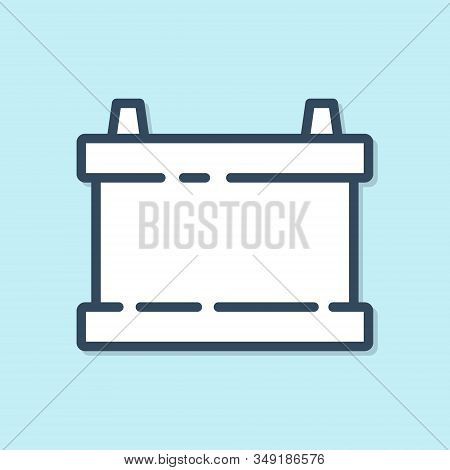 Blue line Car battery icon isolated on blue background. Accumulator battery energy power and electricity accumulator battery. Vector Illustration stock photo