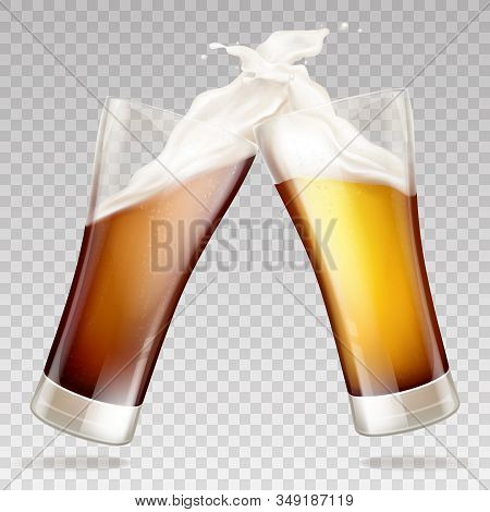 realistic light and dark beer in mugs. Clink glasses with white foam on golden alcohol drink. Mockup for ad poster, promo banner. Pint of ale or other frothy liquid, brewery. stock photo