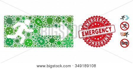 Contagious mosaic emergency exit icon and round corroded stamp seal with Emergency caption. Mosaic vector is formed with emergency exit icon and with randomized virus objects. stock photo