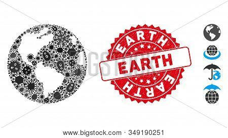 Infection mosaic Earth icon and round corroded stamp seal with Earth text. Mosaic vector is designed with Earth icon and with randomized pandemic items. Earth stamp uses red color, and rubber design. stock photo