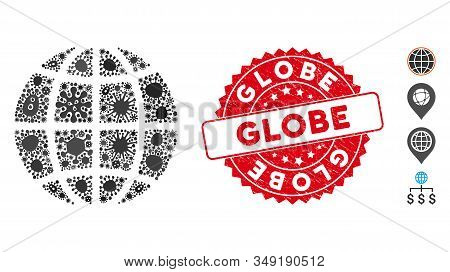 Outbreak mosaic globe icon and round distressed stamp seal with Globe text. Mosaic vector is formed with globe icon and with randomized viral symbols. Globe stamp uses red color, and distress design. stock photo