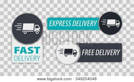 Fast and Free delivery Labels. Vector:Free delivery, Free shipping, 24 hour and fast delivery icons set. Shipment and free delivery, free shipping, 24 hour stock photo