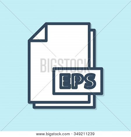 Blue line EPS file document. Download eps button icon isolated on blue background. EPS file symbol. Vector Illustration stock photo