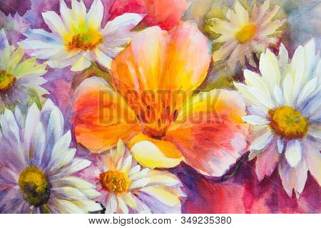 Bright bouquet of spring flowers. Wildflowers, oil acril painting on canvas stock photo