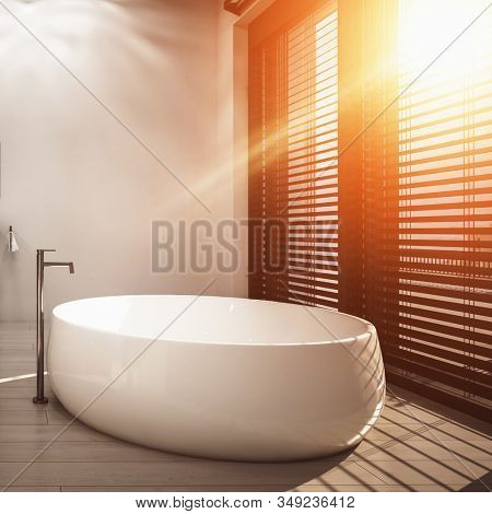 Beautiful 3D render of oval ceramic freestanding bathtub in minimalist bathroom with warm sunlight coming from wide windows with horizontal blinds. 3d Rendering stock photo