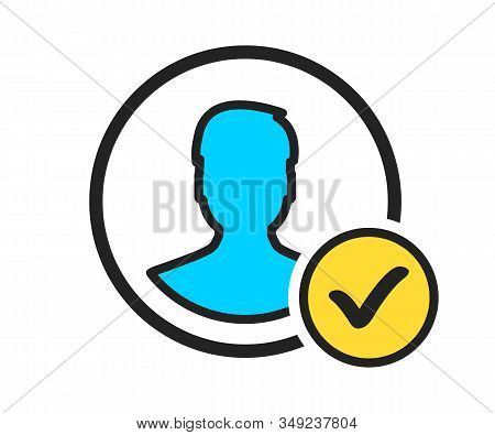 Profile check icon. User profile sign web icon with check mark glyph. Profile with checkmark icon verified account. User profile symbol approved or applied person sign, validation verified. stock photo