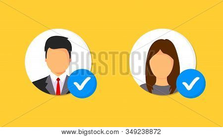 Profile approved icon. Profile with checkmark icon. Verified Account icon. Checked verified profile symbol. User accepted, validation verified. Approved or applied person sign. stock photo