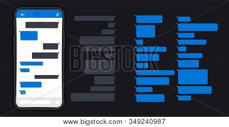 Messages Bubbles. Messages on screen Smartphone. Chat messages on phone flat design messages bubbles on screen. Message bubbles for chat. Bubbles design template for messenger chat. DARK OR NIGHT MODE stock photo