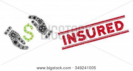 Biohazard mosaic money insurance hands icon and red Insured stamp between double parallel lines. Mosaic vector is created with money insurance hands icon and with scattered microorganism icons. stock photo